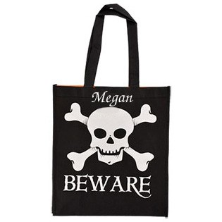 Skull and Bones Black Trick or Treat Bag