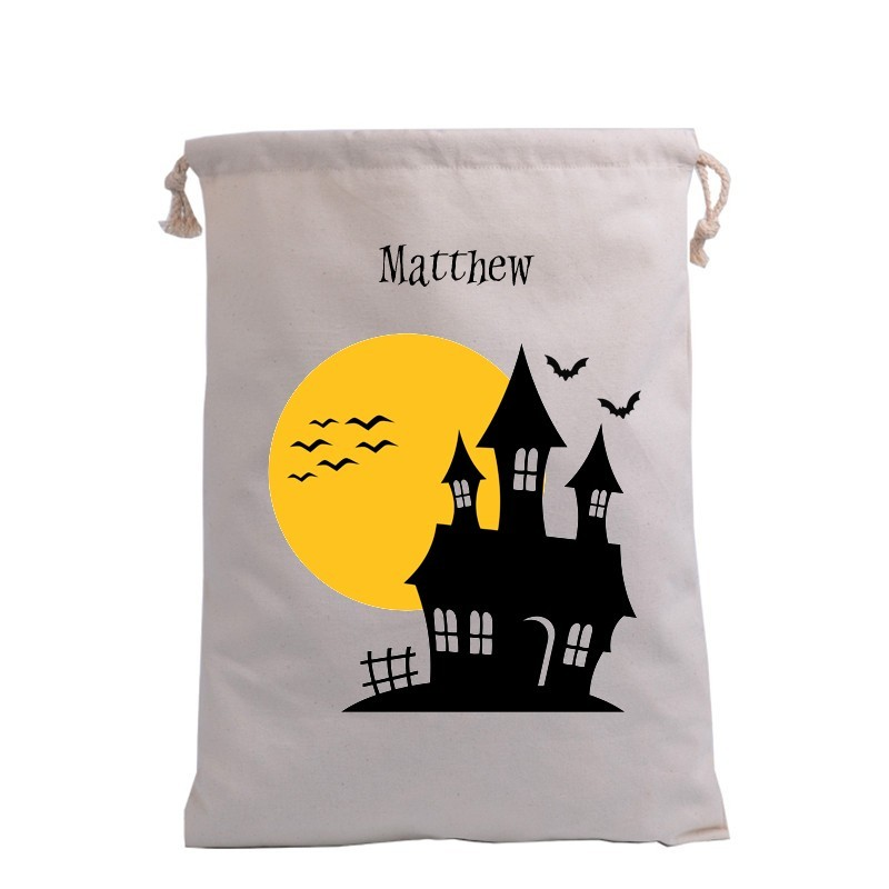 Haunted House with Moon Trick or Treat Bag